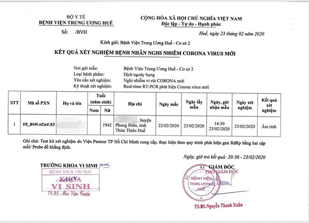 Kết quả xét nghiệm Covid-19 của cụ bà 78 tuổi ở Huế bị sốt, ho sau khi quá cảnh tại Hàn Quốc - Ảnh 1.