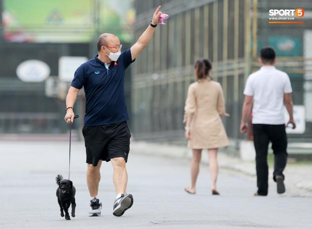 HLV Park Hang-seo thảnh thơi dắt chó cưng đi dạo, cổ vũ tuyển nữ Việt Nam tập luyện chiều 25/2 - Ảnh 3.