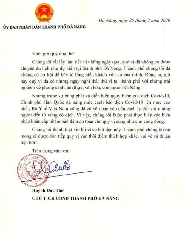 Chủ tịch TP Đà Nẵng viết tâm thư xin lỗi nhóm du khách đến từ tâm dịch Hàn Quốc - Ảnh 2.