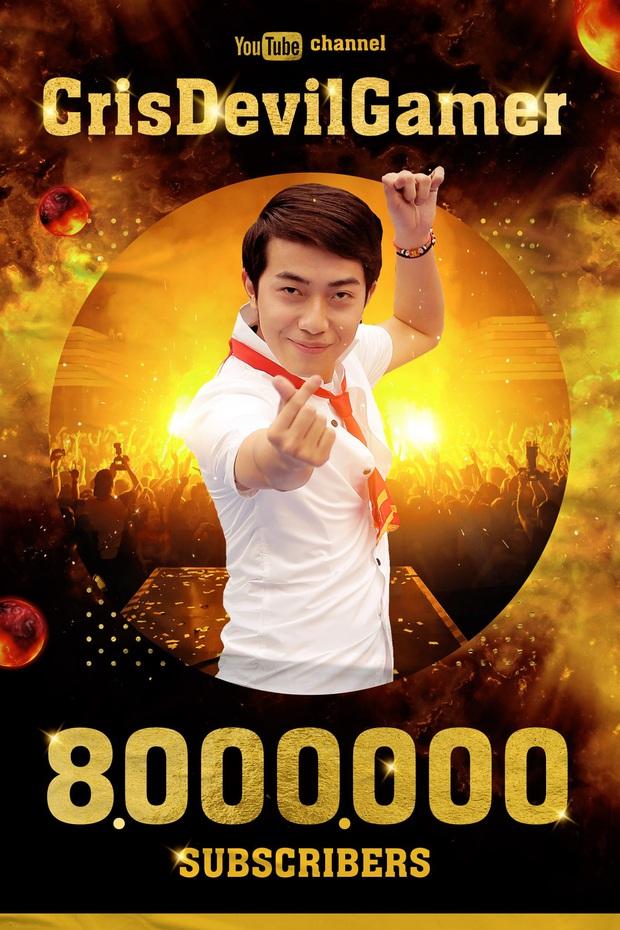 Cris Phan đạt 8 triệu sub trên Youtube, trở thành channel youtube lớn thứ 4 Việt Nam, channel gaming lớn nhất Việt Nam - Ảnh 1.