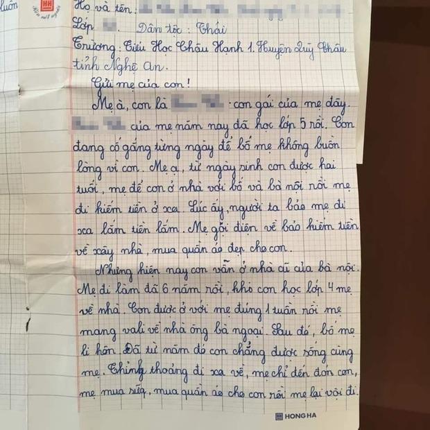 Được yêu cầu viết thông điệp gửi một người lớn, học sinh lớp 5 khiến mọi người bật khóc: Con mong mẹ hiểu, mẹ còn đứa con gái đang sống cùng bà nội - Ảnh 1.