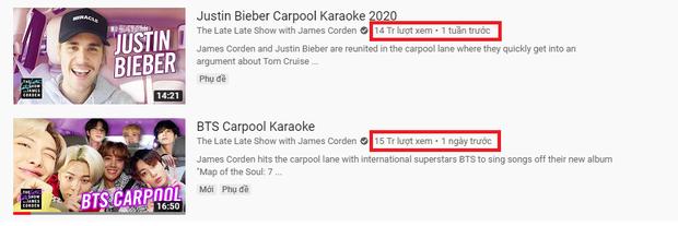 Đi chung show, BTS chỉ mất gần 2 ngày để vượt lượt view của Justin Bieber lên sóng trước cả tuần - Ảnh 3.