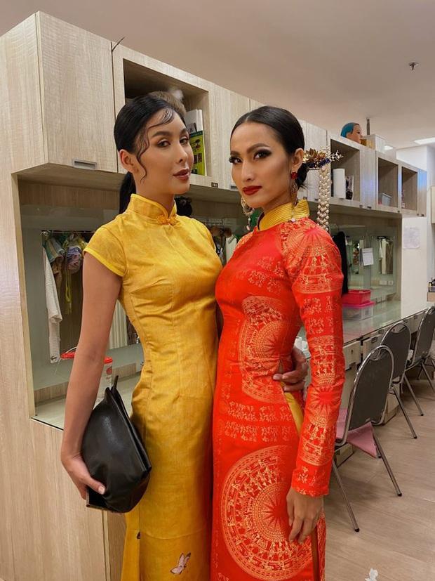 Hoài Sa diện áo đỏ rực, bất ngờ nhất là chi tiết áo giáp mang hình ảnh nữ quyền trên sân khấu Hoa hậu chuyển giới quốc tế 2020 - Ảnh 5.