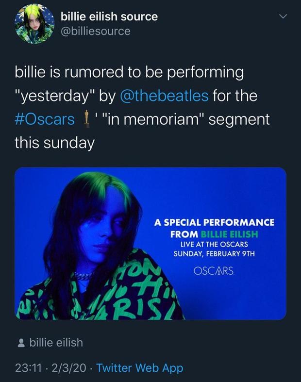 Billie Eilish sẽ diễn gì tại Oscar 2020: Hát nhạc phim, diễn hit cũ hay có tin đồn làm sống lại ca khúc bất hủ của The Beatles huyền thoại? - Ảnh 2.