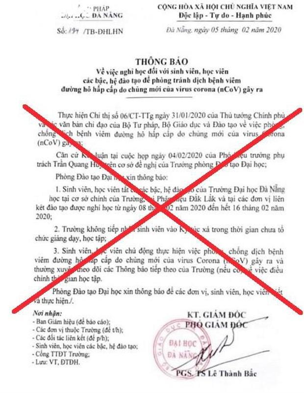 Xuất hiện văn bản giả mạo thông tin Đại học Đà Nẵng cho sinh viên nghỉ thêm một tuần - Ảnh 1.