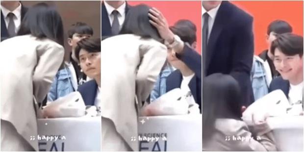Ngã quỵ vì trai đẹp là có thật: Được Hyun Bin xoa đầu, fangirl lúng túng trượt chân, khoảnh khắc gây sốt MXH - Ảnh 2.
