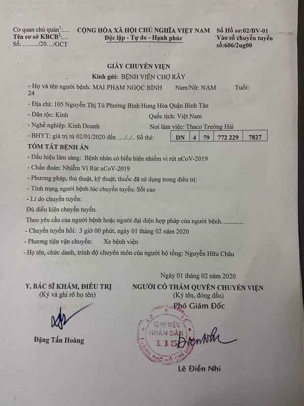 Giả mạo giấy chuyển viện bệnh nhân corona của Bệnh viện Nhân dân 115 - Ảnh 1.