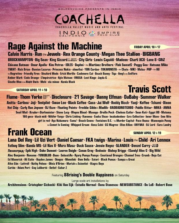 Coachella chính thức bị hoãn vì COVID-19, hẹn BIGBANG, Lana Del Rey, Lil Nas X, Charli XCX, Calvin Harris... vào tháng Mười năm nay! - Ảnh 1.