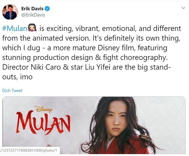 Mulan suất chiếu đầu tiên nhận cơn mưa lời khen, được chọn là bản live-action hay nhất của Disney, nhạc phim xuất sắc - Ảnh 4.