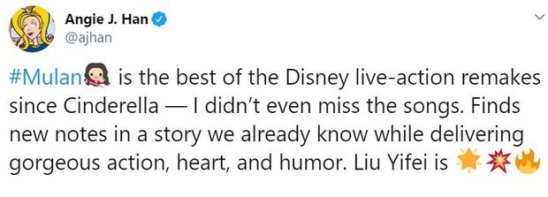 Mulan suất chiếu đầu tiên nhận cơn mưa lời khen, được chọn là bản live-action hay nhất của Disney, nhạc phim xuất sắc - Ảnh 5.