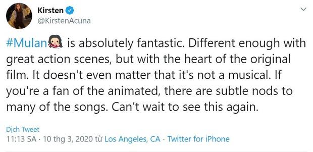 Mulan suất chiếu đầu tiên nhận cơn mưa lời khen, được chọn là bản live-action hay nhất của Disney, nhạc phim xuất sắc - Ảnh 6.