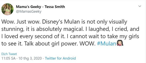 Mulan suất chiếu đầu tiên nhận cơn mưa lời khen, được chọn là bản live-action hay nhất của Disney, nhạc phim xuất sắc - Ảnh 9.