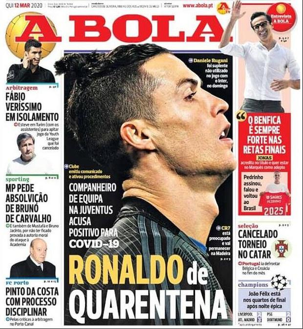 Ronaldo bị cách ly ở Bồ Đào Nha sau khi tiếp xúc gần với đồng đội nhiễm SARS-CoV-2 - Ảnh 3.