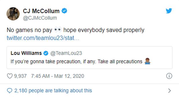 Phản ứng của cầu thủ NBA và giới truyền thông trước thông tin giải đấu sẽ bị hoãn vô thời hạn vì Covid-19 - Ảnh 4.