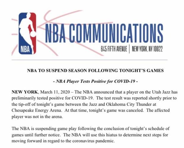 Giải NBA bị hoãn vô thời hạn sau trường hợp dương tính với virus Corona chủng mới đầu tiên - Ảnh 1.