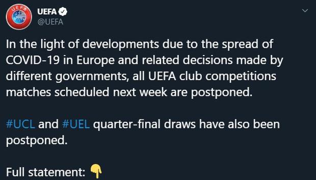 NÓNG: Vì COVID-19, 2 giải bóng đá hàng đầu châu Âu chính thức bị hoãn - Ảnh 1.