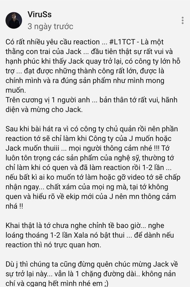ViruSs lên tiếng khi có quá nhiều yêu cầu reaction MV mới của Jack: Mới nghe loáng thoáng, sẽ chỉ làm khi Jack hoặc công ty của Jack muốn - Ảnh 5.