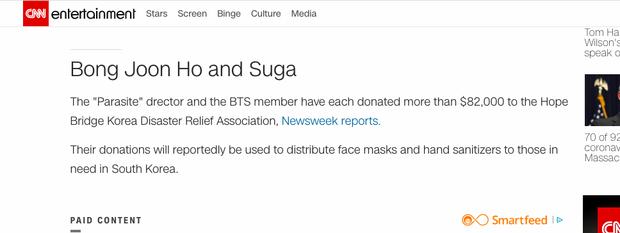 Ryan Reynolds thành sao ủng hộ nhiều nhất thế giới với 23 tỷ, Suga (BTS) lên hẳn CNN sau khi đóng góp chống dịch Covid-19 - Ảnh 9.