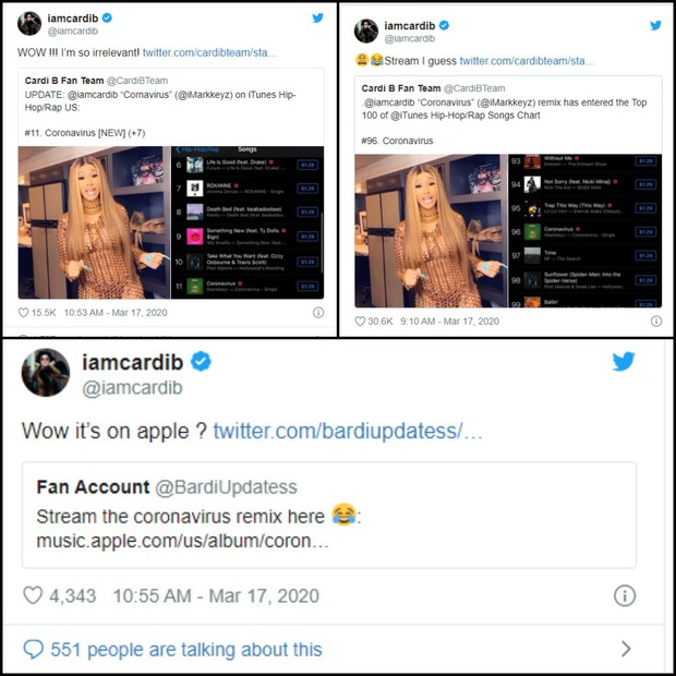 Cardi B livestream nói về nỗi sợ virus Corona, được DJ remix lại ai ngờ viral khắp nơi rồi leo hạng cao trên BXH iTunes khiến chính chủ cũng sốc! - Ảnh 5.
