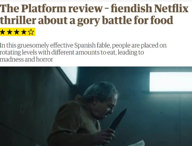 Hàng loạt cây viết uy tín quốc tế khen hết lời The Platform - phim kinh dị vừa ra mắt đã lọt top 3 Netflix Việt Nam - Ảnh 2.
