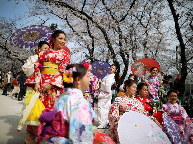 Bỏ ngoài tai những khuyến cáo về dịch bệnh Covid-19, hàng ngàn người dân Nhật vẫn tụ tập ngắm hoa anh đào và xem kickboxing - Ảnh 1.