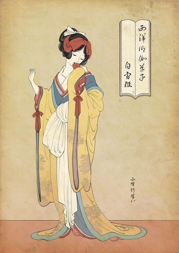 Khi các nàng công chúa Disney hiện lên dưới phong cách vẽ truyền thống Nhật Bản - Ảnh 1.