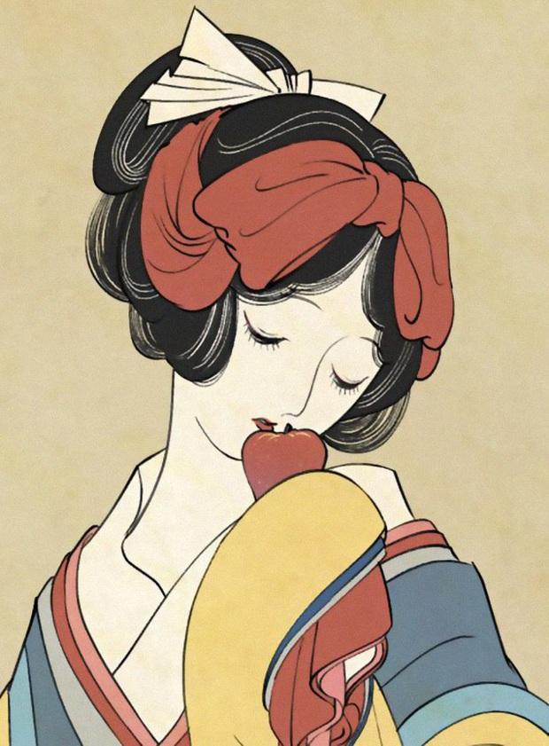Khi các nàng công chúa Disney hiện lên dưới phong cách vẽ truyền thống Nhật Bản - Ảnh 2.