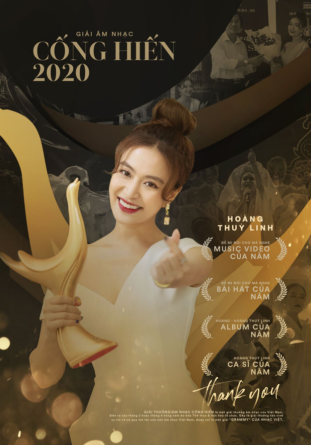 Cống hiến 2020: Hoàng Thùy Linh lập cú poker lịch sử với 4 giải thưởng, AMEE trở thành Nghệ sĩ mới xuất sắc của năm với số điểm tuyệt đối - Ảnh 1.