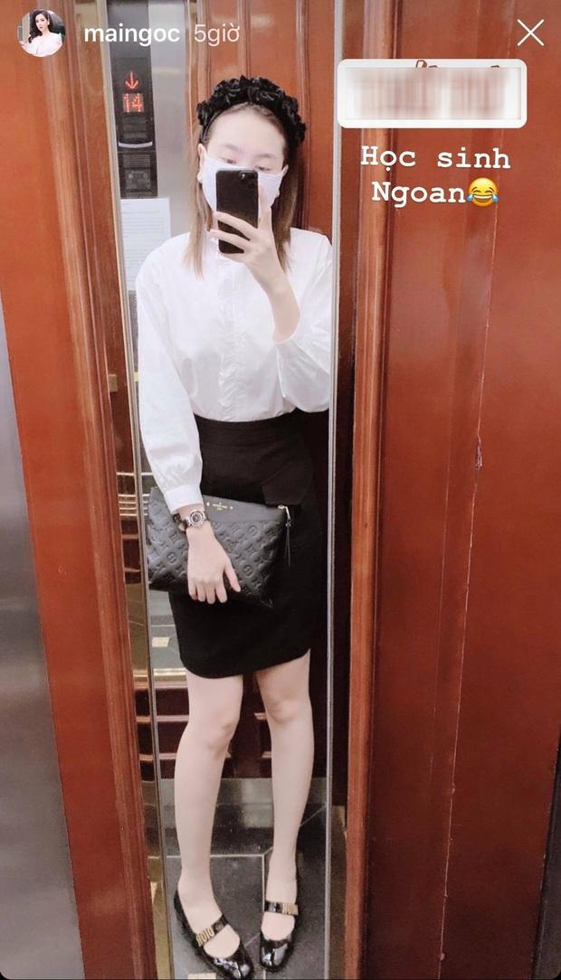 Mai Ngọc cosplay nữ sinh, diện áo trắng váy đen nhưng lại chưng phụ kiện hàng hiệu đắt giá đủ khiến chị em trầm trồ - Ảnh 4.