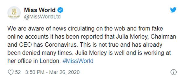 Miss World chính thức hé lộ sự thật về thông tin Chủ tịch dương tính với Covid-19, khiến loạt Hoa hậu phải cách ly - Ảnh 2.