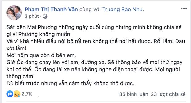 Ốc Thanh Vân xót xa tâm sự về Mai Phương trước khi cố nghệ sĩ qua đời: Mình không chia sẻ gì vì Phương không muốn - Ảnh 2.