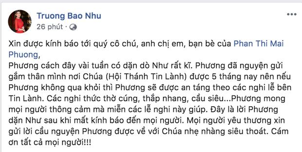 Chia sẻ của nữ ca sĩ Trương Bảo Như về di nguyện cuối cùng của Mai Phương.