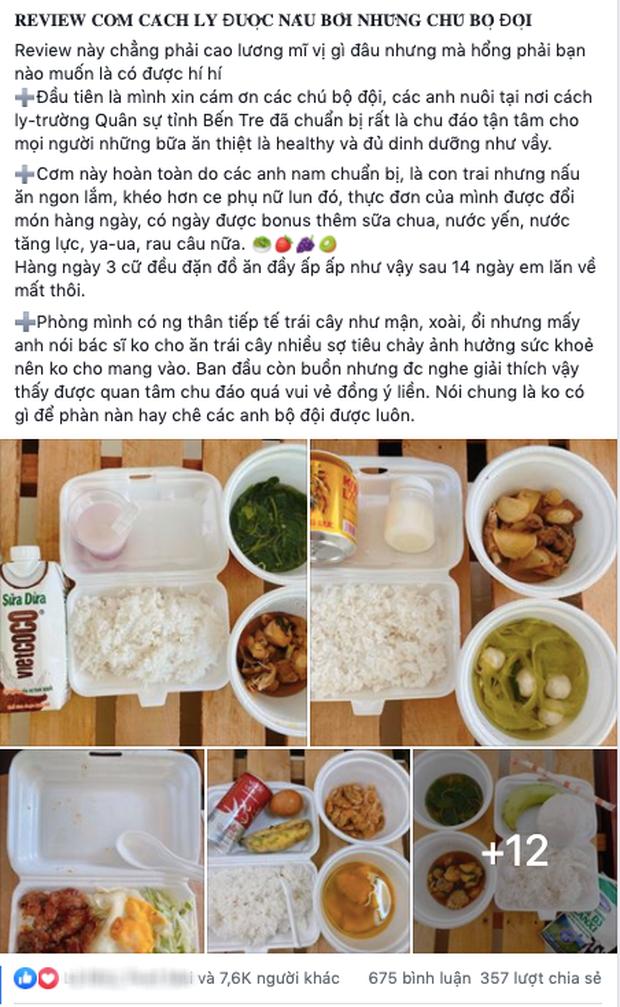 Review cơm cách ly được các anh bộ đội nấu cho ăn mỗi ngày, gái xinh gây sốt mạng xã hội: Thế này về nhà không khéo tăng cân mất! - Ảnh 1.