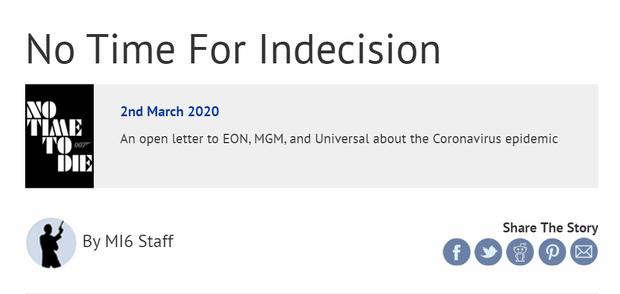 Fan James Bond viết tâm thư đề nghị hoãn chiếu No Time to Die để phòng dịch COVID-19 - Ảnh 1.
