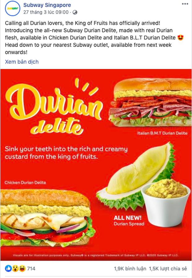 """Cho ra mắt món sandwich kẹp… sầu riêng, một cửa hàng thức ăn nhanh ở Singapore khiến dân mạng sợ hãi: Tính cho ăn """"Cá Tháng Tư"""" sớm hả? - Ảnh 3."""