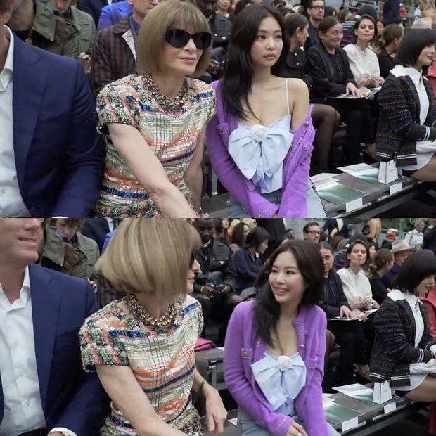 Jennie e dè khi ngồi cạnh TBT Vogue Anna Wintour tại show Chanel: Ngượng ngùng đến tay chân dư thừa, chuẩn fan girl khi gặp thần tượng - Ảnh 4.