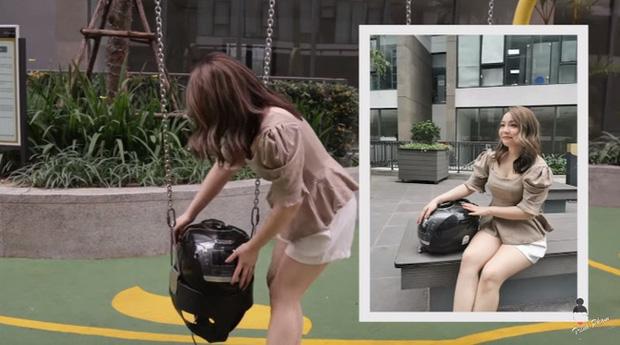 Hot mom Trinh Phạm quằn quại thử hết 3 trend chụp ảnh trong lồng máy giặt, túi gói bim bim, bê nồi cơm điện hot nhất hiện nay: Cái muốn gãy lưng, cái như đi ăn trộm - Ảnh 13.