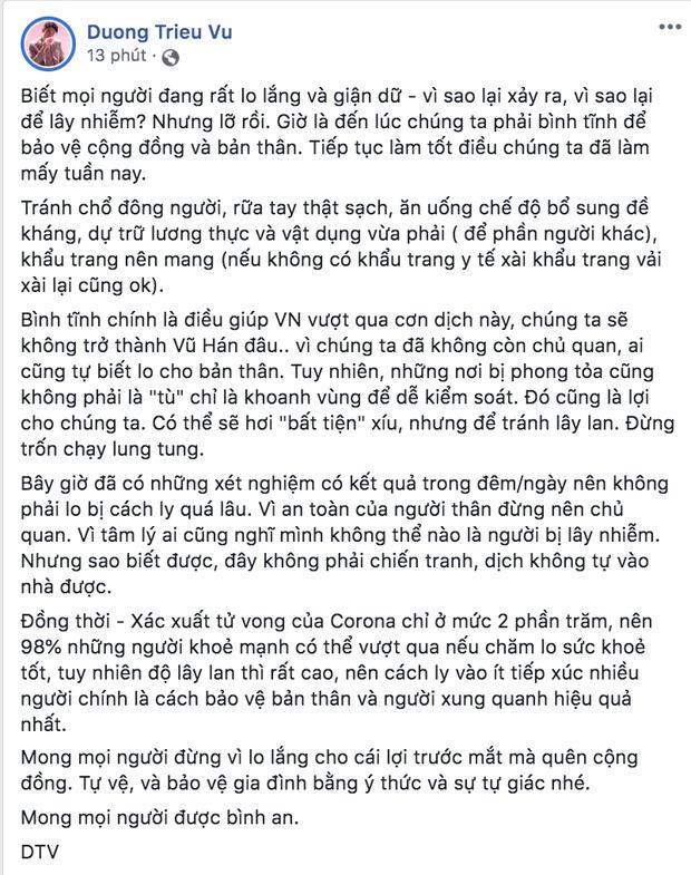 Dàn sao Việt trấn an công chúng khi Việt Nam xuất hiện ca nhiễm Covid-19 thứ 17: Trấn Thành và Thu Trang đáng chú ý nhất! - Ảnh 6.