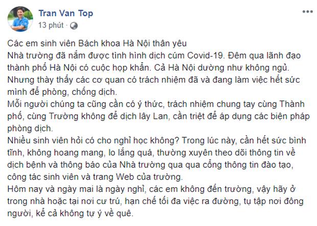 Nhiều trường ĐH ở Hà Nội gửi thông báo khẩn thay đổi lịch đi học, yêu cầu sinh viên bình tĩnh, hạn chế đi lại - Ảnh 1.