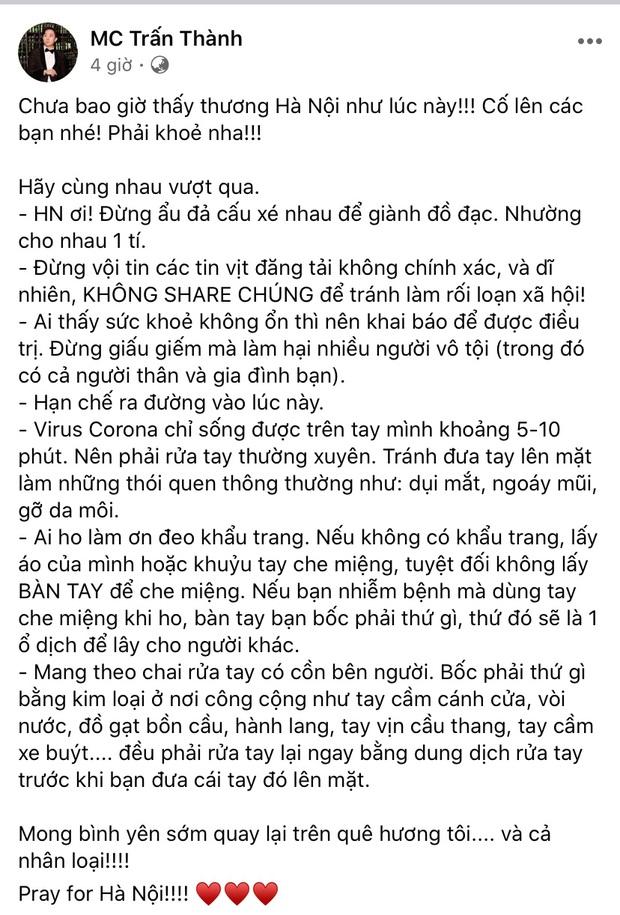Dàn sao Việt trấn an công chúng khi Việt Nam xuất hiện ca nhiễm Covid-19 thứ 17: Trấn Thành và Thu Trang đáng chú ý nhất! - Ảnh 2.