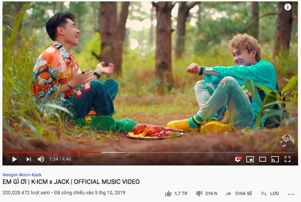 Em Gì Ơi cán mốc 200 triệu view, Jack đạt kỷ lục Vpop - trở thành nghệ sĩ Vpop đầu tiên sở hữu 4 MV có thành tích khủng này! - Ảnh 2.