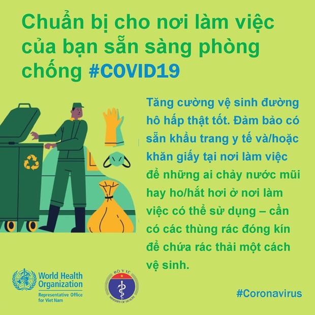 Tổ chức Y tế Thế giới (WHO) phối hợp với Bộ Y tế đưa ra những lưu ý cần thiết khi đi làm để phòng chống COVID-19 - Ảnh 6.