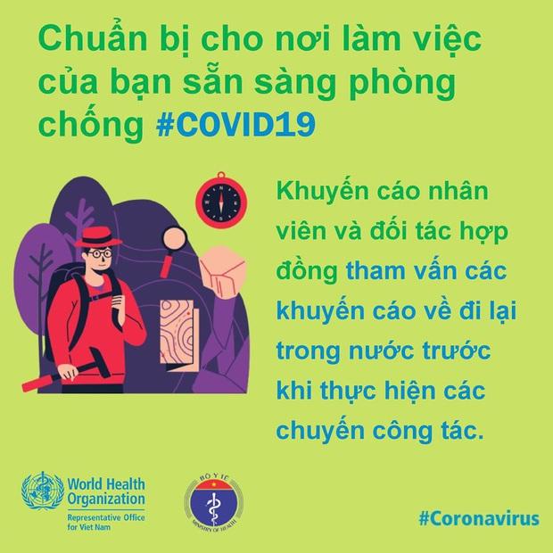 Tổ chức Y tế Thế giới (WHO) phối hợp với Bộ Y tế đưa ra những lưu ý cần thiết khi đi làm để phòng chống COVID-19 - Ảnh 7.