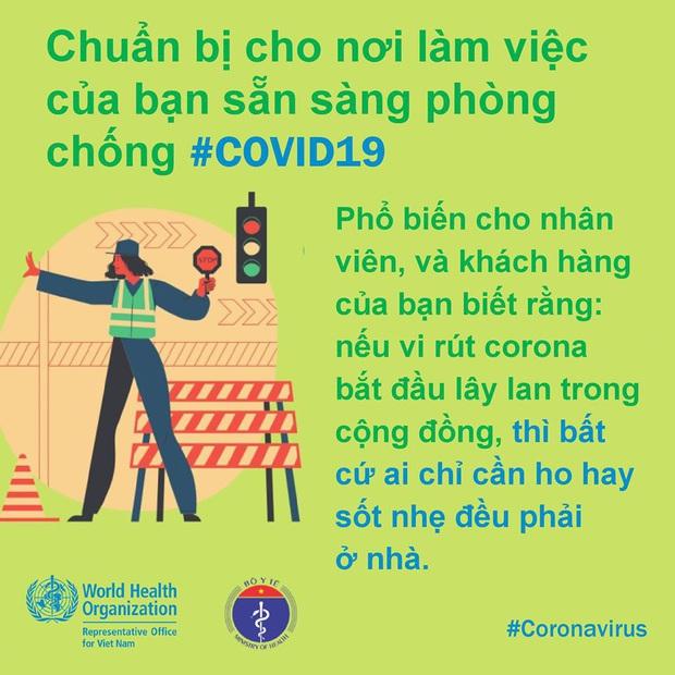 Tổ chức Y tế Thế giới (WHO) phối hợp với Bộ Y tế đưa ra những lưu ý cần thiết khi đi làm để phòng chống COVID-19 - Ảnh 8.