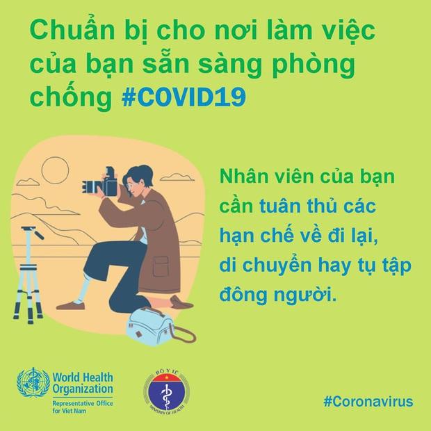 Tổ chức Y tế Thế giới (WHO) phối hợp với Bộ Y tế đưa ra những lưu ý cần thiết khi đi làm để phòng chống COVID-19 - Ảnh 10.