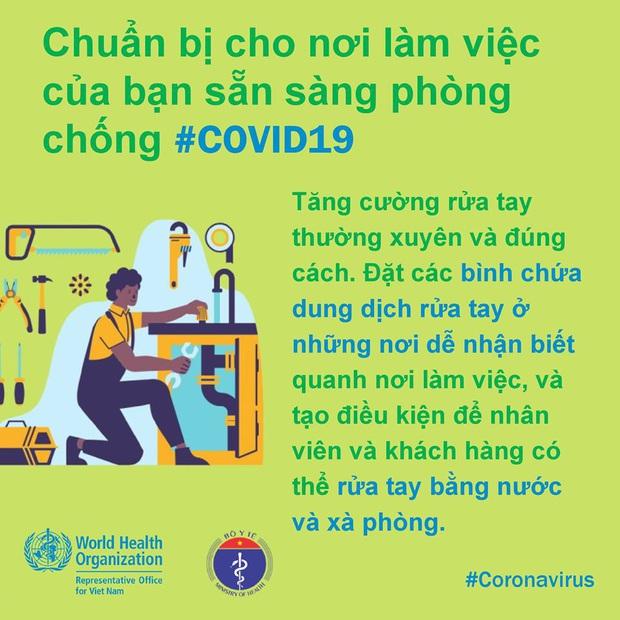 Tổ chức Y tế Thế giới (WHO) phối hợp với Bộ Y tế đưa ra những lưu ý cần thiết khi đi làm để phòng chống COVID-19 - Ảnh 5.