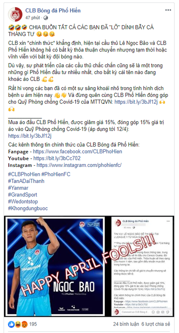 CLB Phố Hiến tung fake news ngày Cá tháng Tư: Hậu vệ hạng Nhất trở thành cầu thủ Việt Nam đầu tiên sang chơi tại giải VĐQG Nhật Bản - Ảnh 3.