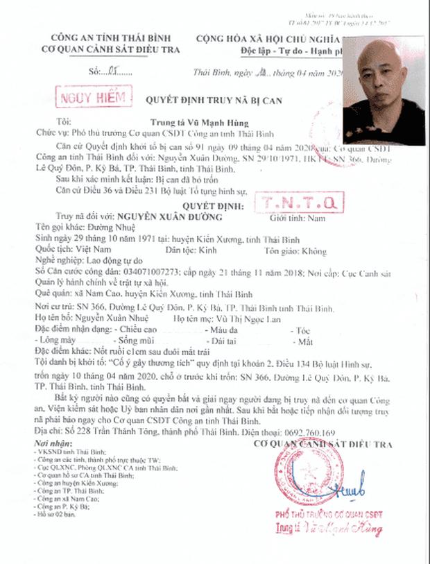 Truy nã toàn quốc Nguyễn Xuân Đường, chồng nữ đại gia bất động sản vừa bị bắt ở Thái Bình - Ảnh 1.