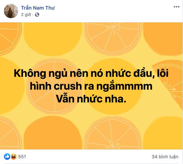 Nam Thư lộ dấu hiệu crush một anh chàng bí mật: Facebook nhuộm màu tình yêu, đến mức MC Quyền Linh và Tú Vi phải vào trêu - Ảnh 4.