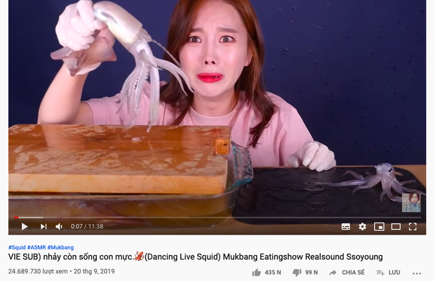 """""""Thánh ăn Hàn Quốc"""" Ssoyoung khiến nhiều YouTuber nổi tiếng phẫn nộ vì hành hạ động vật sống, có người còn yêu cầu cô xoá luôn kênh 3,45tr subscribes - Ảnh 5."""